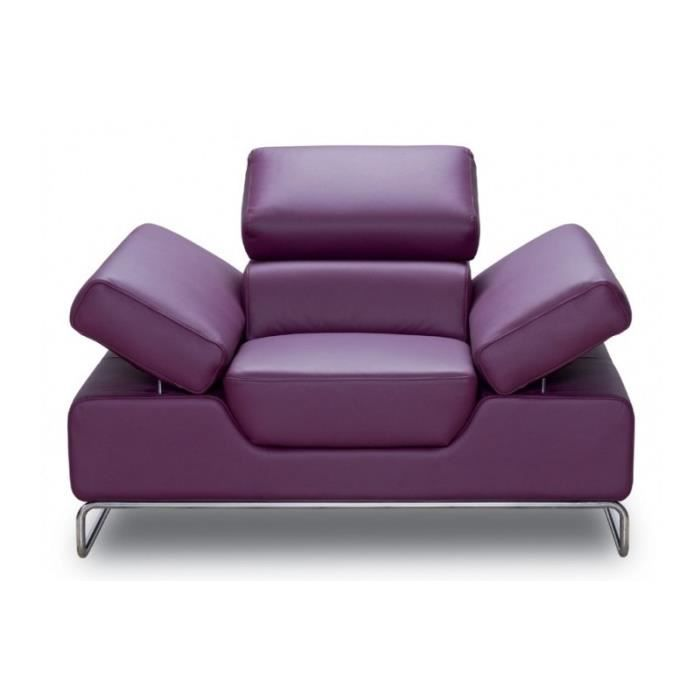 fauteuil coloris prune en cuir prunny violet achat vente fauteuil violet cdiscount. Black Bedroom Furniture Sets. Home Design Ideas