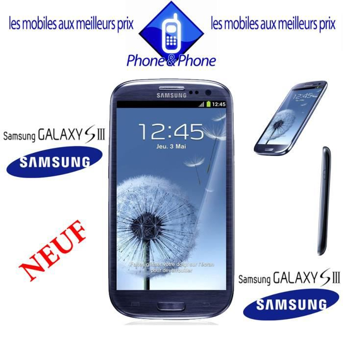 samsung galaxy s3 bleu neuf i9300 debloque achat. Black Bedroom Furniture Sets. Home Design Ideas