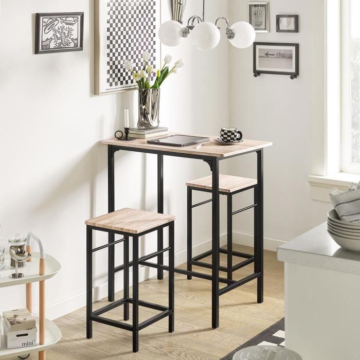 MANGE-DEBOUT SoBuy® OGT10-N Ensemble table de bar bistrot + 2 t