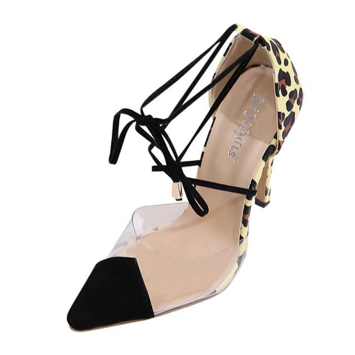 Orlashop Mode Femmes Leopard talon haut unique Chaussures femmes Sandales Transparent talons aiguilles  marron