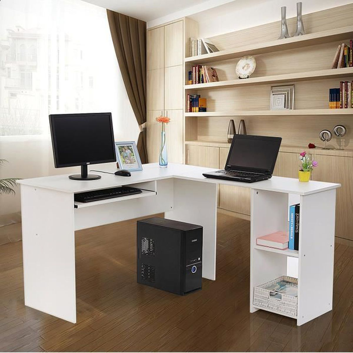 superbe bureau informatique blanc avec tablette coulissante pour clavier meuble de bureau pour. Black Bedroom Furniture Sets. Home Design Ideas