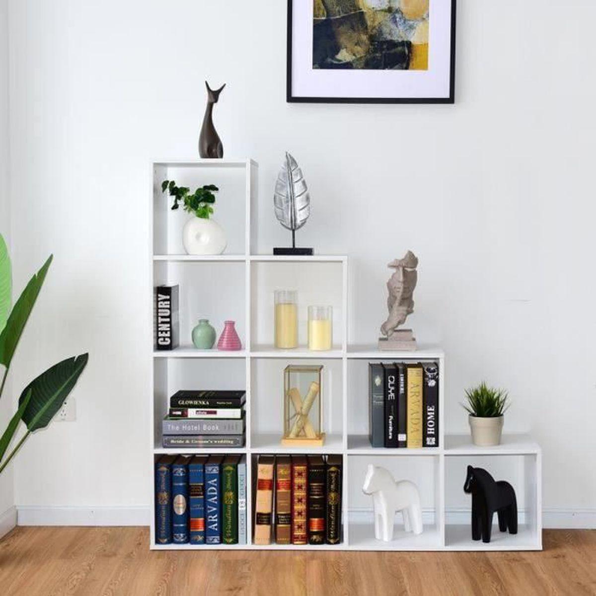 Escalier Dans Un Salon costway bibliothèque etagère rangement Étagère de livres 10