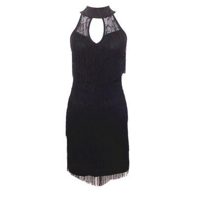 Femme Dos Nu Moulante Robe A Frange Costume De Danse Latine Sans Manche Soiree Robe Bretelles Tango Danse Noir Noir Achat Vente Robe Soldes Des Le 15 Juillet Cdiscount