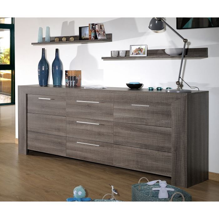biarritz bahut 220cm bois gris achat vente buffet. Black Bedroom Furniture Sets. Home Design Ideas