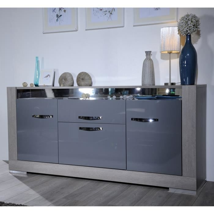 alcova bahut laqu gris et ch ne gris 190 cm achat. Black Bedroom Furniture Sets. Home Design Ideas