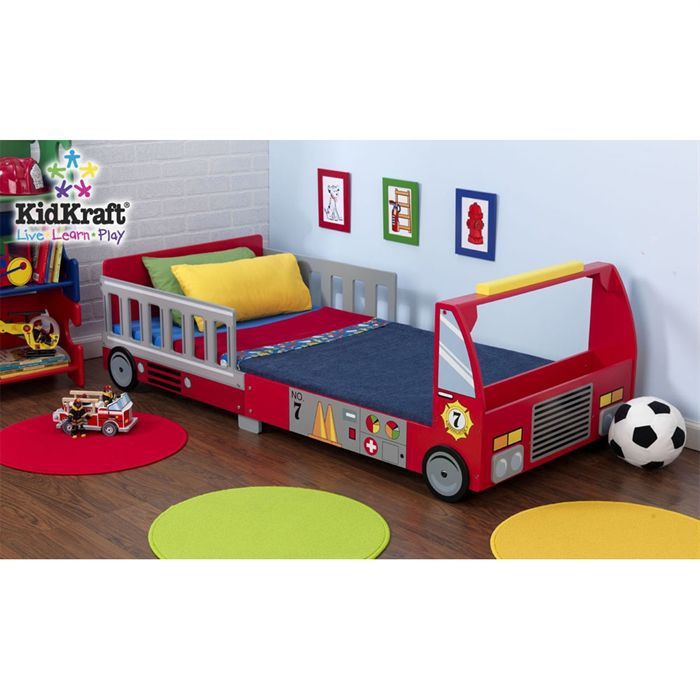 kidkraft lit tout petits camion de pompier rouge achat vente structure de lit cdiscount. Black Bedroom Furniture Sets. Home Design Ideas