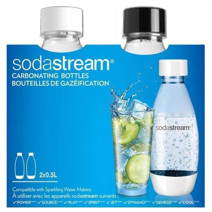 Sodastream Bouteilles de Gazéification Plastique Blanche et Noire 2x0,5L