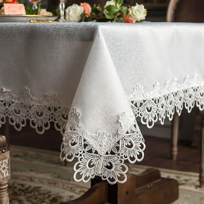 75X200CM -Nappe de table blanche brodée princesse européenne, tapis de table en dentelle, ornement de table, chemin carré de jardin