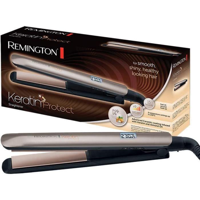 Remington S8540 Fer à lisser, Lisseur Keratin Protect, Plaques Flottantes Céramique Avancée, Soin Kératine Huile d'Amande, 9 Tempéra