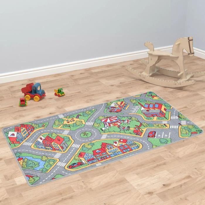 Jardin*9883Parfait Tapis de jeu Poil à boucle - Tapis de Jeux Enfant Bébé Tapis d'Éveil 133 x 190 cm Motif route de ville