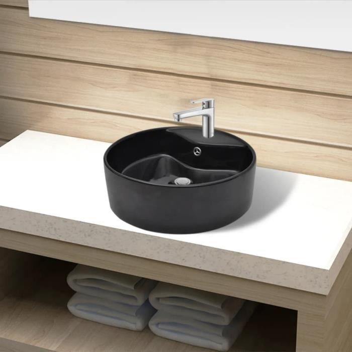 Luxueux -Vasque rond à trou robinet-trop-plein - Lavabo Vasque à poser céramique pour salle de bain Vasque Lavabo à poser #54972