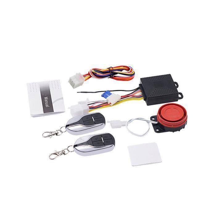 1 Set Moto Système D'alarme À Distance Moteur Démarrage Sans Clé Anti-ligne 12V Klaxon pour Scooter ANTIVOL-BLOQUE ROUE QUI6278