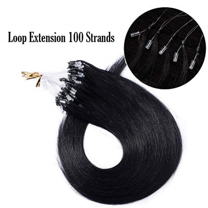 Extension a Anneaux Cheveux Naturel [0.5g * 100 Mèches] (18-=45cm,50g) Teindre-Friser-Lisser Capable [ Noir Foncé ]