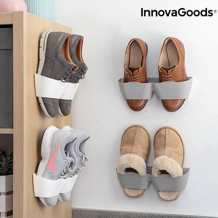 4x Range chaussures Mural Adhésif pour Mur, Porte ou Placard Blanc et Gris – Vertical, Gain de place, Porte Chaussure