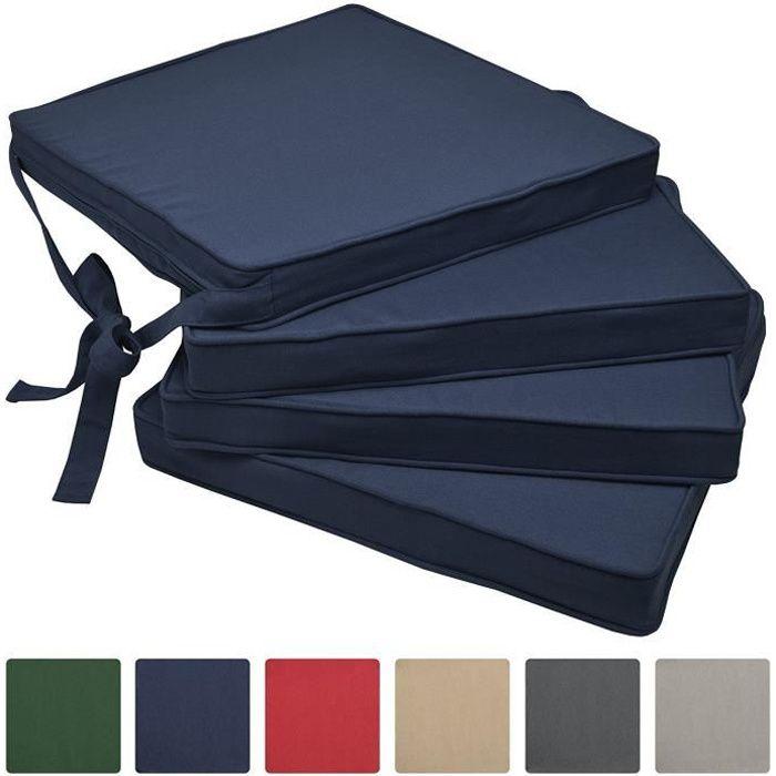 Beautissu Lot de 4 Galettes de Chaises Bleu foncé 45x40x5 cm Loft SK - Coussins d'Assises – Jardin Extérieur - Confortable