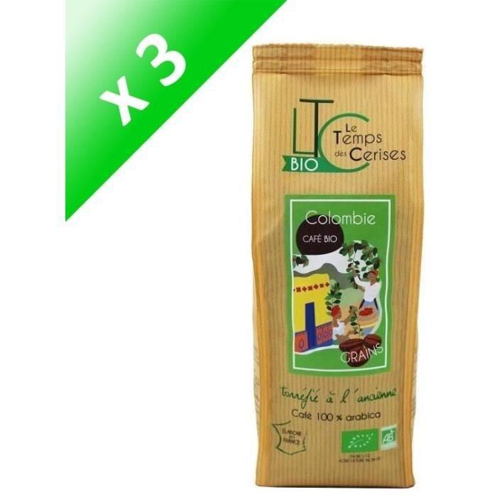 [LOT DE 3] LE TEMPS DES CERISES Café Grain Colombie Bio 250 g