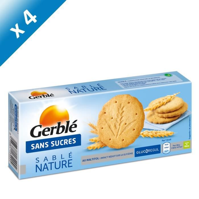 [LOT DE 4] GERBLE Biscuits sablés nature - 132 g