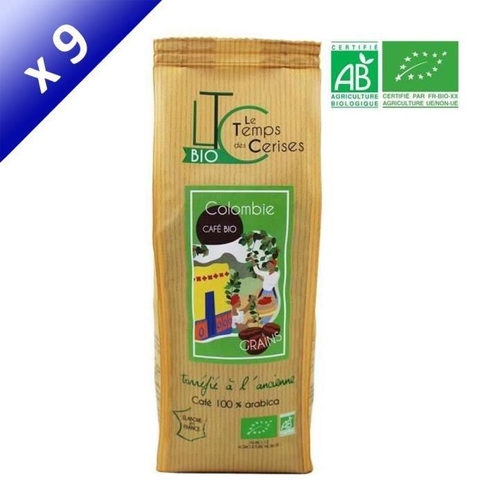 [LOT DE 9] LE TEMPS DES CERISES Café Grain Colombie Bio 250 g