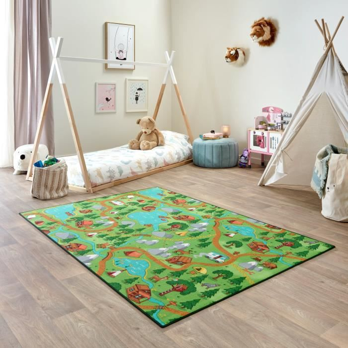 Tapis de Jeu Enfant 140x200cm, Hiking - Tapis Circuit Voiture - Lavable - Antidérapant - Carpet Studio