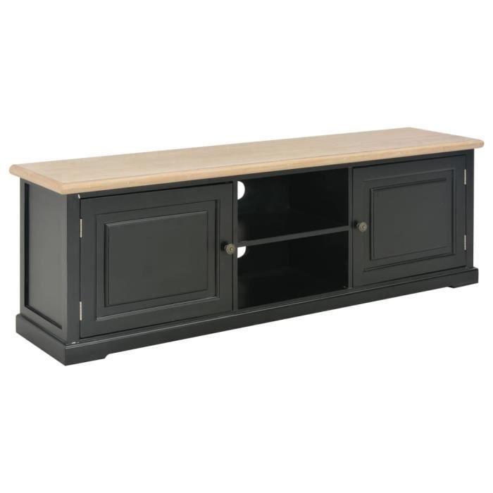XIJ Meuble TV Noir 120 x 30 x 40 cm Bois noir + couleur du bois
