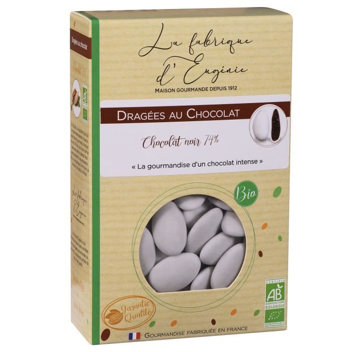 LA FABRIQUE D'EUGENIE Dragées au chocolat noir 74% - Blanc - 500 g
