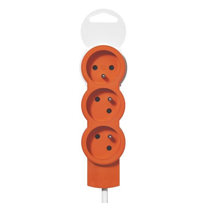 LEGRAND Rallonge multiprise standard 3x2 P+T cordon 1,5 m orange