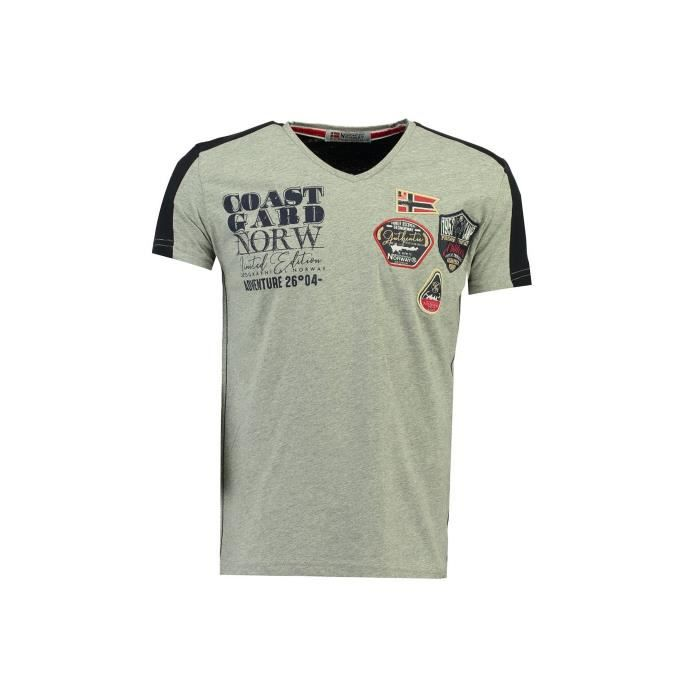 Tshirt Homme Geographical Norway Javiation Gris Clair