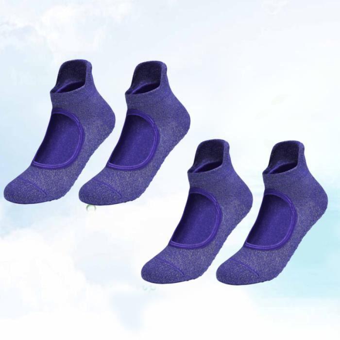 2 paires antidérapantes chaussettes ouvertes de cou-de-pied femmes coton de yoga de fitness respirantes à l'intérieur (violet)