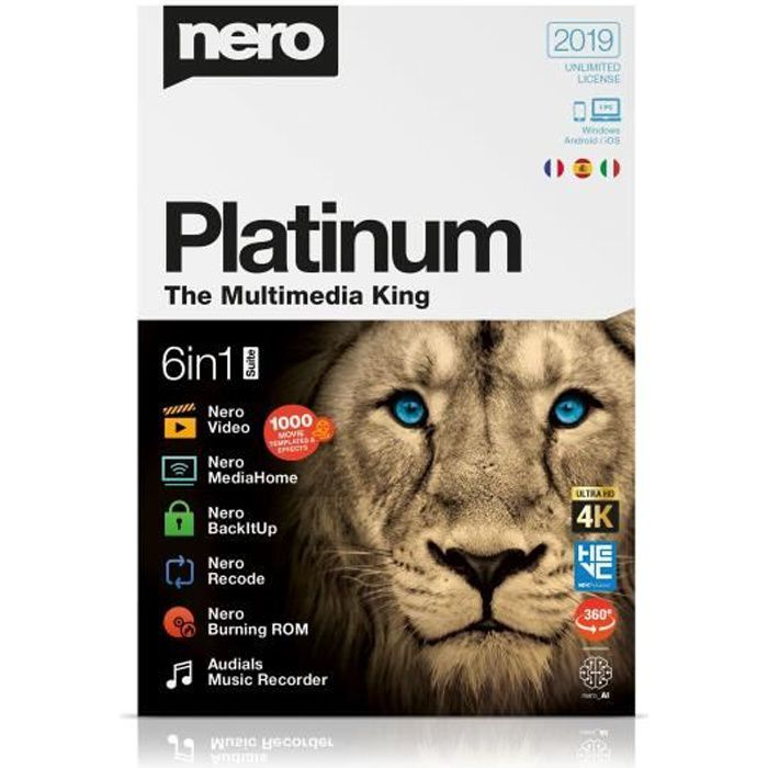 NERO Logiciel Platinum 2019 - Conversion video en disque