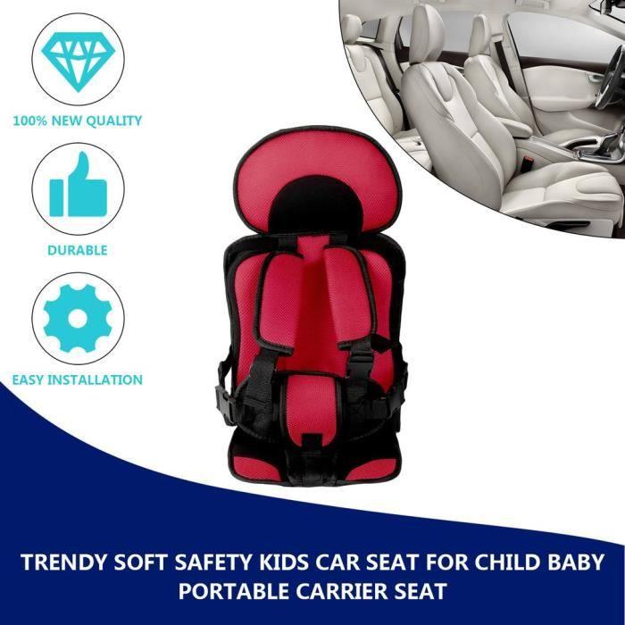 Siège Auto pour enfants de sécurité réglable en coton doux pour accessoire de siège portatif pour bébé enfant - Rouge