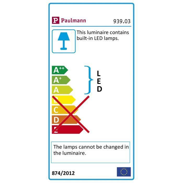 Paulmann 93903 Encastrés LED Coin Slim IP23 rond 6,8 W alu Kit de 3 à intensité variable et orientables