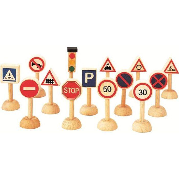 PLAN TOYS Jeu en bois Panneaux de Signalisation