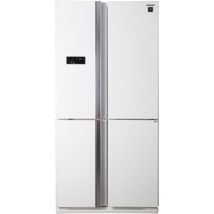 SHARP - SJ-FS810VWH - Réfrigérateur Multi-portes - 600L (393L+207L) - Froid ventilé No Frost - A+ - L89,2cm x H183cm - Blanc