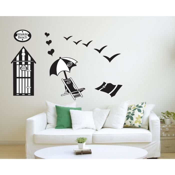 plage d 39 t parapluie et chaise longue stickers muraux amovibles d coration murale achat. Black Bedroom Furniture Sets. Home Design Ideas