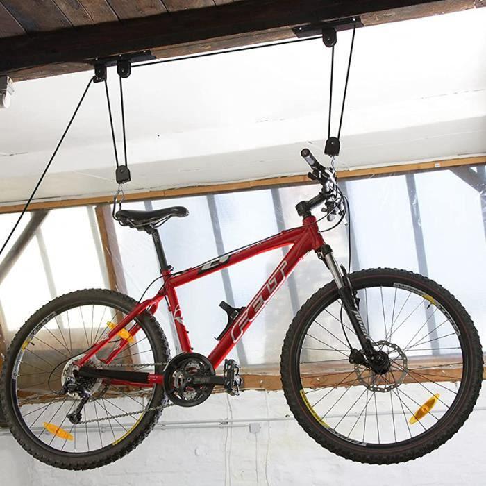 Support Velo Rangement Velo Plafond Garage Ascenseur Vtt Stockage Bicyclette Noir Prix Pas Cher Cdiscount
