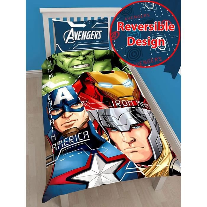parure de lit housse de couette avengers achat vente. Black Bedroom Furniture Sets. Home Design Ideas