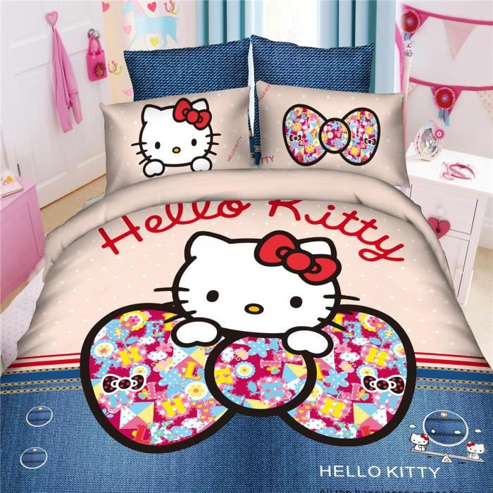 hello kitty parure de couette lm 100 polyester 1 housse. Black Bedroom Furniture Sets. Home Design Ideas