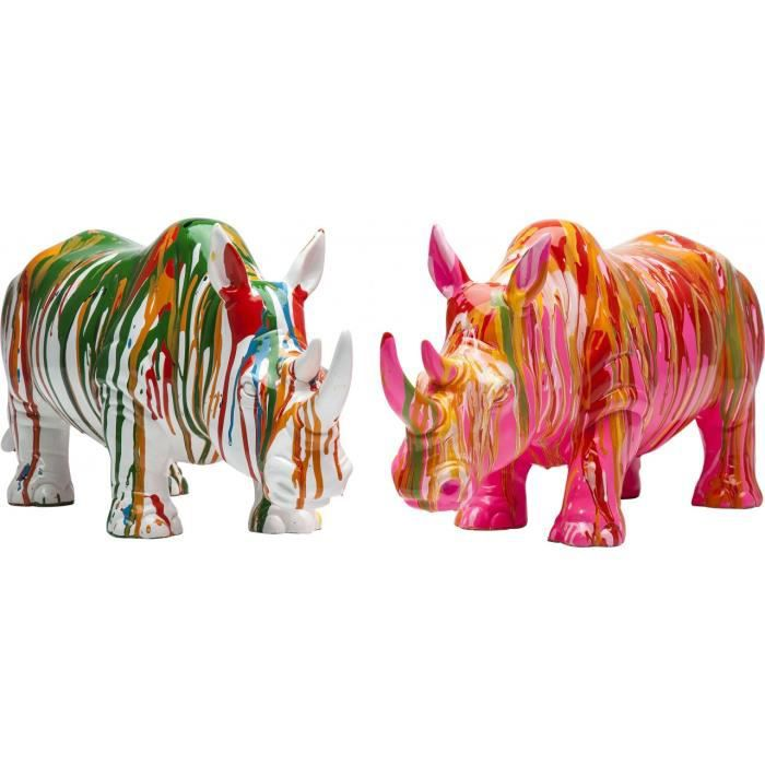 figurine deco rhino colore kare design couleurs achat vente objet d coratif cdiscount. Black Bedroom Furniture Sets. Home Design Ideas