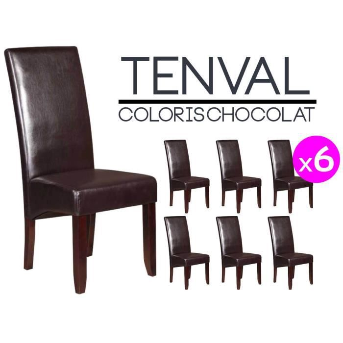 tenval lot de 6 chaises marron achat vente chaise. Black Bedroom Furniture Sets. Home Design Ideas