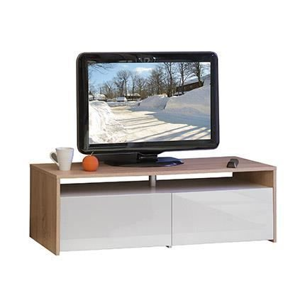 meuble tv blanc ch ne 2 tiroirs blanc laqu achat. Black Bedroom Furniture Sets. Home Design Ideas