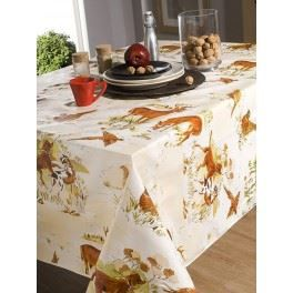 nappe en toile cir e rectangulaire 140x200 cm chasse faisan achat vente nappe de table. Black Bedroom Furniture Sets. Home Design Ideas