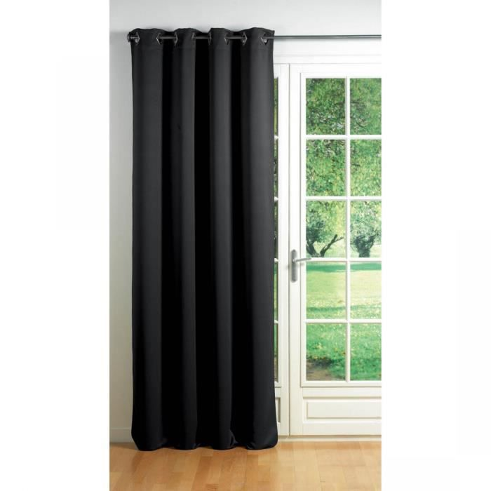 rideau occultant oeillets cocoon noir achat vente rideau 100 polyester m tal cdiscount. Black Bedroom Furniture Sets. Home Design Ideas