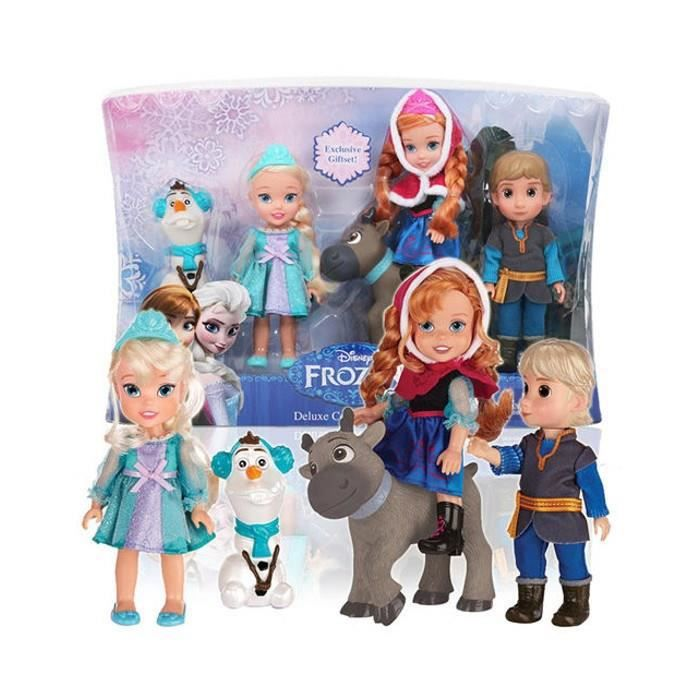 la reine des neiges pack 5 mini poup es 15 cm elsa anna kristoff sven et olaf achat. Black Bedroom Furniture Sets. Home Design Ideas