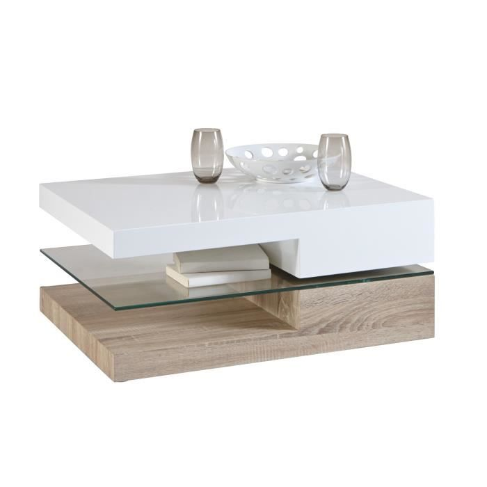 Table basse contemporaine rectangulaire bois verre for Table basse et haute a la fois