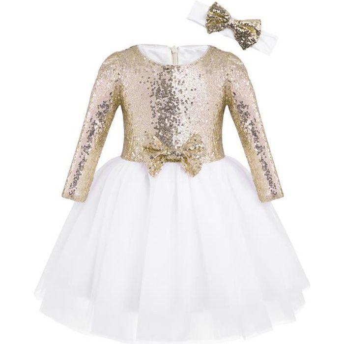 Enfant Robe Ceremonie Fille Princesse Robe Mariage Tulle Robe Manche Longue 12 Mois 8 Ans Or Or Achat Vente Robe De Ceremonie Cdiscount