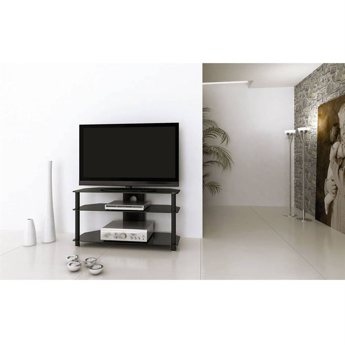needs 100 meuble tv noir mat achat vente meuble tv needs 100 meuble tv noir mat m tal. Black Bedroom Furniture Sets. Home Design Ideas