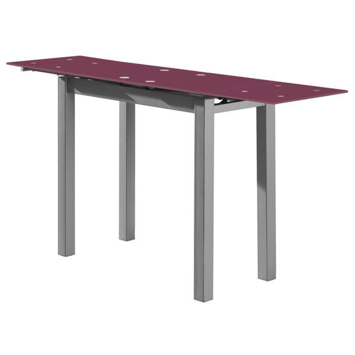 Table extensible en verre prune acier gris 850 1450 x 400 for Table extensible gris clair