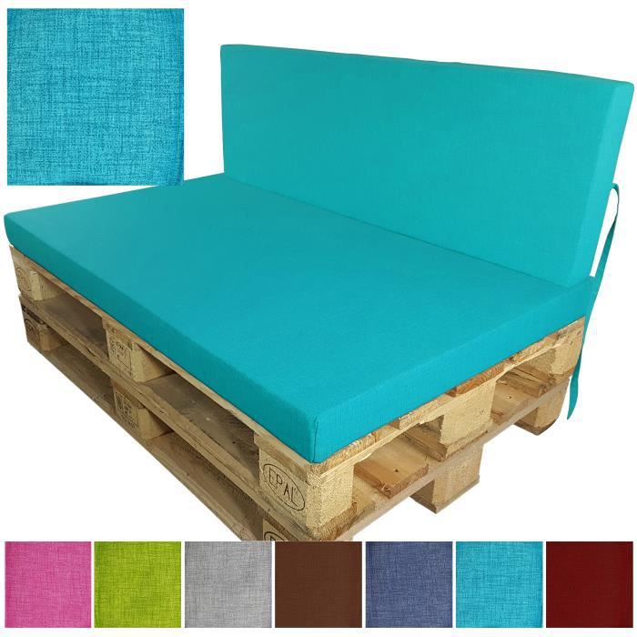 coussin de dossier pour palette europe 120x40x8 cm turquoise id al pour ext rieur r sistant la. Black Bedroom Furniture Sets. Home Design Ideas