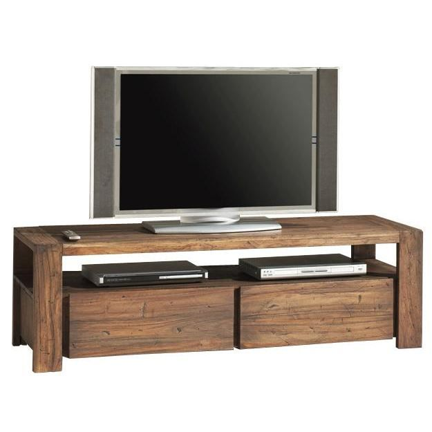 meuble t l petit mod le en teck recycl 150x45 achat vente meuble tv meuble t l petit. Black Bedroom Furniture Sets. Home Design Ideas