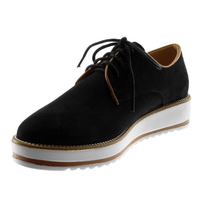 Chaussures de mode féminine Derby Shoe - Plateforme - Sneaker Sole - Terminer surpiqûre Seams Wedge Platfo SOARP Taille-36
